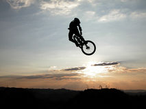 Moutain bike jump. Boy jumping with a bike Royalty Free Stock Image