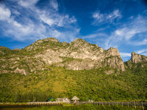 Moutain and bridge with blue sky. Big moutain and bridge with blue sky Royalty Free Stock Image
