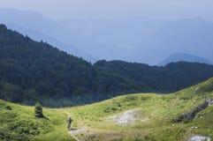 Moutain cyklist som stiger ned från den Mozic kullen Royaltyfri Bild