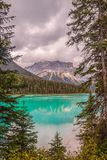 Moutain Emerald lake in early autumn.Yoho National Park.British Columbia.Canada stock images