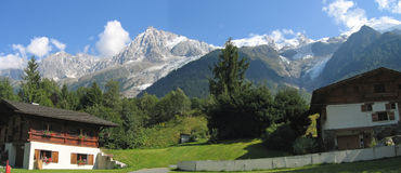 Moutain house in the Chamonix. Valley - Les Houches - France - The Alps - Panorama Royalty Free Stock Photography