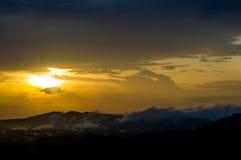 Moutain mist. Sunset beautiful day royalty free stock photo