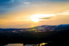 Moutain mist. Sunset beautiful day royalty free stock photos