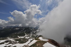 Moutain Nebelhorn Germany. Clouds on the Moutain Nebelhorn Germany Stock Photo
