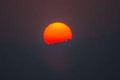 Moutain och solnedgång Arkivbilder