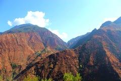 Moutain range. Jinsha river along moutain with beautiful green water stock image