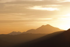 Moutain range landscape. Sunset scenic of a mountain range in the nature Stock Images