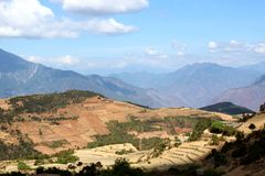 Moutain range. Normal moutain range in yunnan province under sunshine stock photos