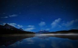 Moutain reflected Lake at night Royalty Free Stock Photos
