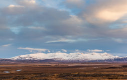 Moutain in remote area on Iceland at sunset Stock Photography