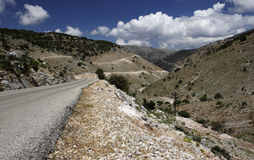 Moutain road in the Mediterranean. Kefalonia, Greece Royalty Free Stock Photography