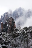 Moutain with snow fog and tree. Yellow moutain of China,with snow, fog and trees Stock Image