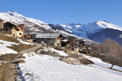 Moutain village in winter Royalty Free Stock Photography