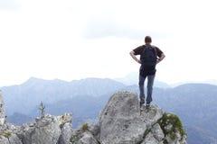 Moutaineer sulla cima Fotografie Stock Libere da Diritti