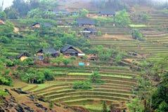Moutainous village in Sapa. Mountain landsape in Sapa, Vietnam royalty free stock image