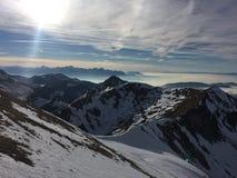 Moutains снега Moleson Fribourg Швейцарии стоковая фотография