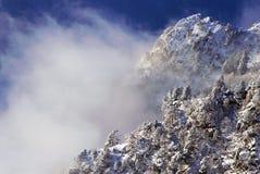 Moutains, alberi e nubi dello Snowy Fotografie Stock Libere da Diritti