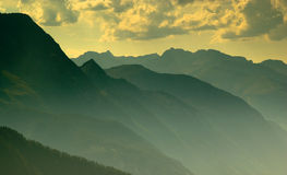 Moutains panorama in the shadows Royalty Free Stock Photo