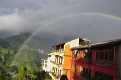 Moutains and Rainbow. Sa Pa, Lao Cai, Viet Nam Royalty Free Stock Photos