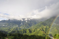 Moutains and Rainbow. Sa Pa, Lao Cai, Viet Nam Royalty Free Stock Images