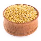 Moutarde blanche dans une cuvette en bois Image stock
