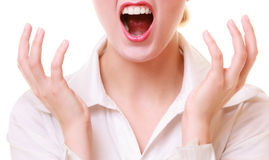 Mouth of angry businesswoman furious woman screaming Royalty Free Stock Photos