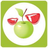 Mouth with beautiful teeth and apple. Vector stock illustration