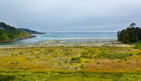 Mouth of Big river in Mendocino county, California, USA. Stock Photos