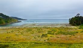 Mouth of Big river in Mendocino county, California, USA. Mendocino Headlands State Park Stock Photos