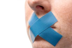 Mouth of Censored Woman Stock Image