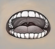 Mouth close up gray image Royalty Free Stock Image