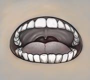 Mouth close up gray image Royalty Free Stock Image