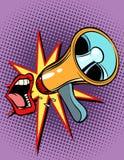 Mouth das Schreien in ein Megaphon Lizenzfreie Stockfotografie