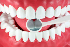 Mouth and dental mirror. Close-up of a mouth and dental mirror stock images