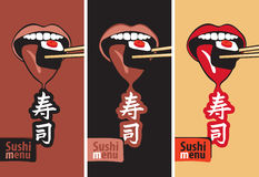 Mouth eat sushi Stock Photography