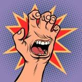 Mouth emotion anger hand scratch gesture. Comic cartoon pop art retro vector illustration drawing royalty free illustration