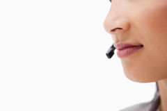 Mouth of female call center agent Stock Photography