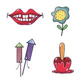 Mouth, firework, apple and flower festa junina set icon. Vector illustration Stock Photo