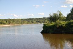 Mouth of the Freeman River. Where the Freeman River runs into the Athabasca River in Northern Alberta near Fort Assiniboine Stock Image