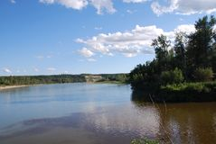 Mouth of the Freeman River. Where the Freeman River runs into the Athabasca River in Northern Alberta near Fort Assiniboine Royalty Free Stock Photography
