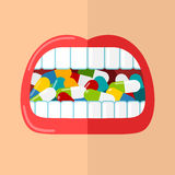 Mouth is full of pills. Woman's mouth is full of colorful pills.Vector flat illustration vector illustration