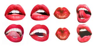 Mouth Icon. Sexy female lips with red lipstick isolated on white. White teeth, tongue of beautiful young women
