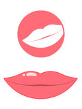 Mouth/lips pictogram. Pictogram of pink female lips stock illustration