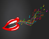Mouth, lips - vector, music, sing, notes. Vector illustration of mouth that sing the song. Mouth and colorful notes. Illustration on a dark background Stock Photography