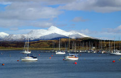 Mouth of Loch Etive and Ben Cruachan, Scotland. Lake and mountains near Oban, Scotland Royalty Free Stock Photos