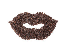 Mouth made coffee beans Royalty Free Stock Photo