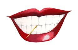 Mouth mit Toothpick Lizenzfreie Stockfotos