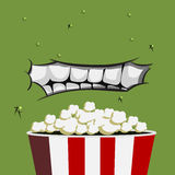 Mouth Monster eating popcorn Royalty Free Stock Images