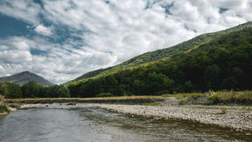 Mouth Of A Mountain River In Summer In The Mountains Of North Caucasus, Picturesque Landscape Royalty Free Stock Image