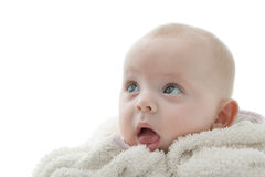 Mouth open. Portrait of a baby wearing a white bathrobe Stock Image